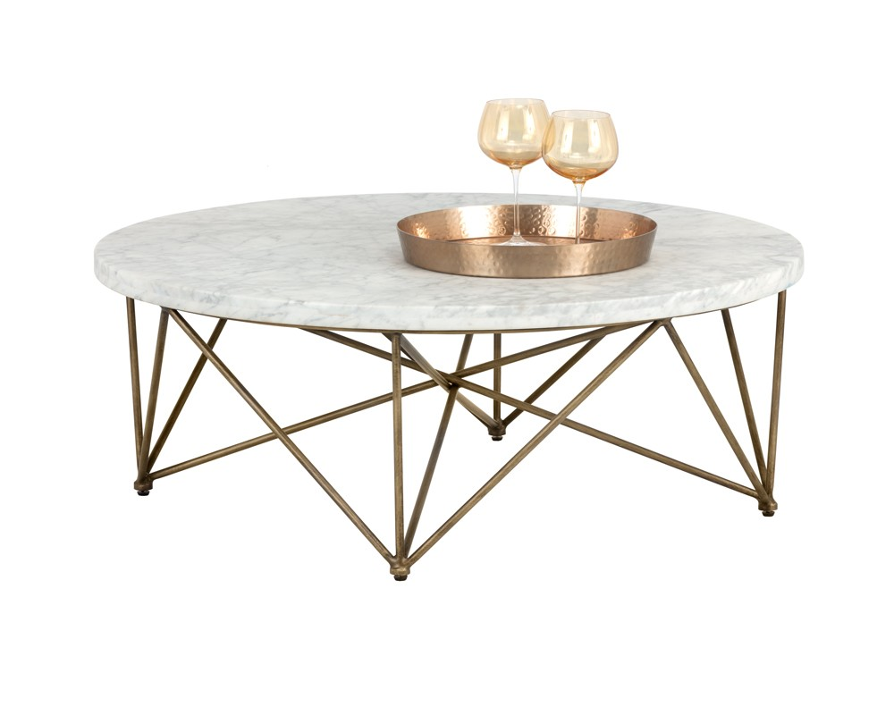 Fabulous Skyy Coffee Table Round Antique Brass White Marble Evergreenethics Interior Chair Design Evergreenethicsorg